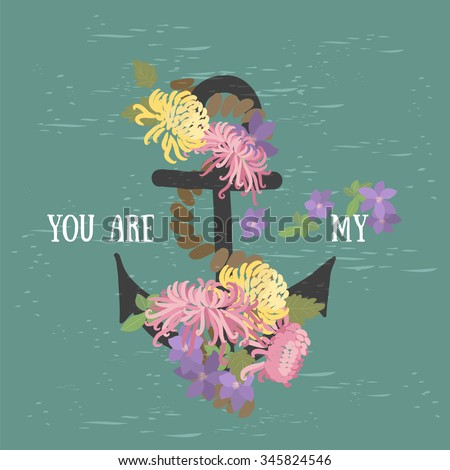 Vector background with flowers chrysanthemum and anchor