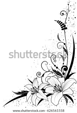 Vector background flowers lily black white stock vector 626561558 vector background with flowers of lily in black and white for corner design mightylinksfo