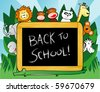 "Vector background with funny animals in the forest around a blackboard with the words ""Back to school!"" - stock photo"