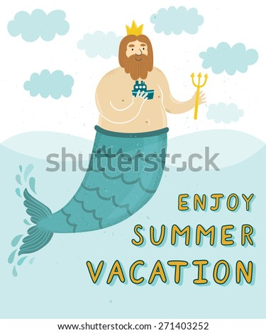 "Vector background with funny bearded man, sea, clouds and text ""Enjoy summer vacation"". Childish summer backdrop with cute cartoon character - stock vector"