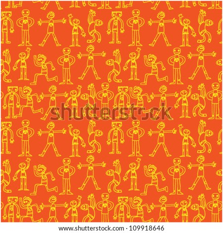 vector background with funny people - stock vector
