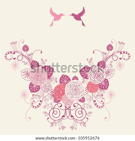 Vector background with garland of flowers, leaves and couple of birds. Invitation and greeting card for wedding. Frame of branches of blooming roses.Pink romantic abstract illustration with text box - stock vector