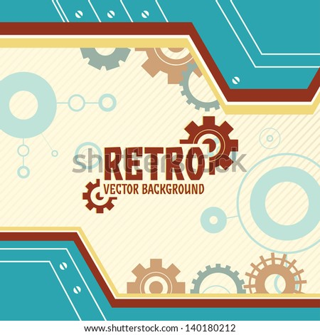 Vector background with gear and cogwheel in retro color - stock vector