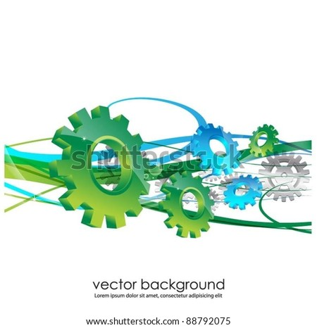 vector background with gears - stock vector