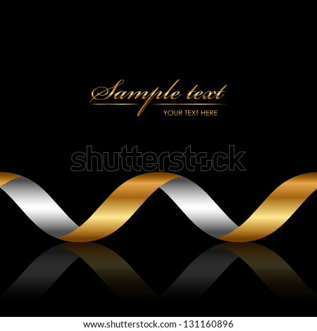 Vector background with gold ribbon - stock vector