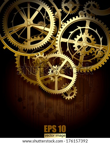 Vector background with golden gear wheels on dark dirty surface with blots - stock vector