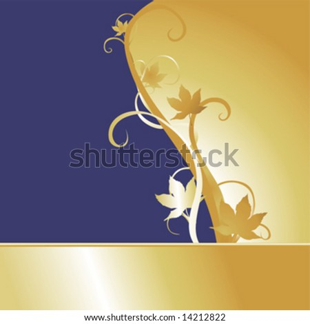 Vector background with golden maple leaves and vines.