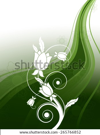 Vector Background with Green Wavy Elements and White Flowers. - stock vector