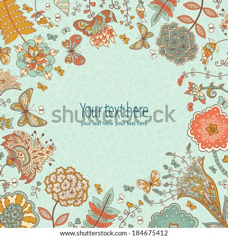 Vector background with hand-drawn flowers and butterflies. Use for advertising, packaging, ads, postcards, invitation. Colored background for summer design. - stock vector