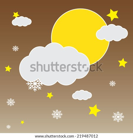 Vector background with hanging clouds, moon, stars and snowflakes/ christmas card - stock vector