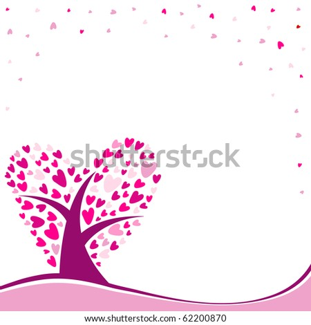 vector background with heart-shaped tree and space for your text