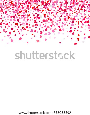 Vector background with hearts. Red heart frame for your text. Template for Valentine's designs, invitation, party, birthday, wedding. Heart confetti. - stock vector