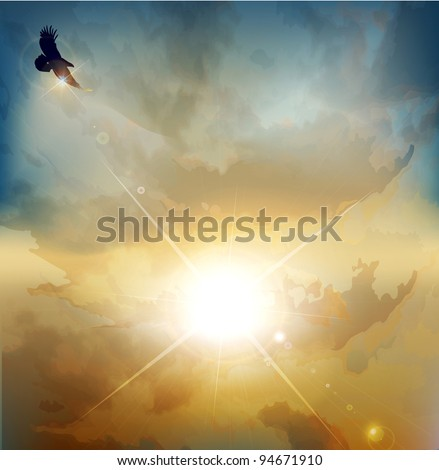 vector background with high-soaring eagle on a background of rising sun - stock vector