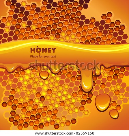 Vector background with honeycomb and flowing honey - stock vector