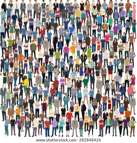 vector background with huge crowd of people standing frontal - stock vector