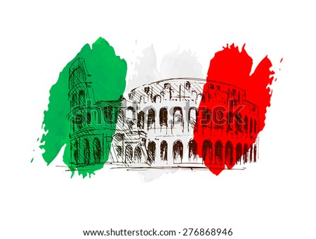 Vector background with Italy motive - stock vector