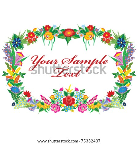 vector background with Kalocsa embroidery - stock vector