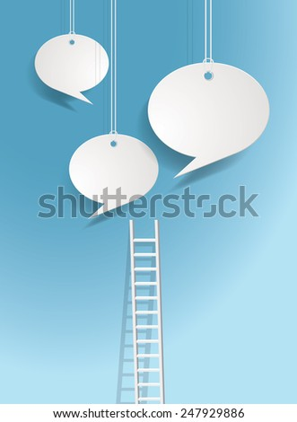Vector background with ladders leading to hanging chat clouds. - stock vector