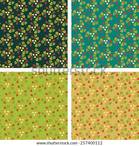 vector background with leaves and berries - stock vector