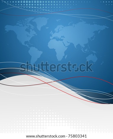 Vector background with map of world. EPS10 - stock vector