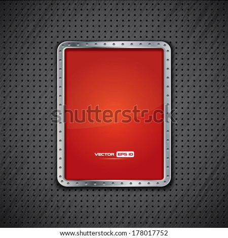 Vector background with metal plate or red metallic advertising panel - stock vector