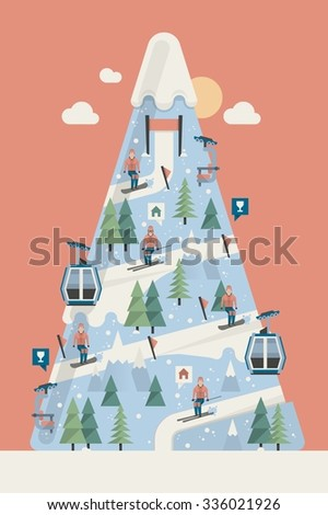vector background with mountain and slopes with skiers - stock vector
