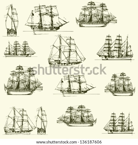 vector background with  old ships - stock vector