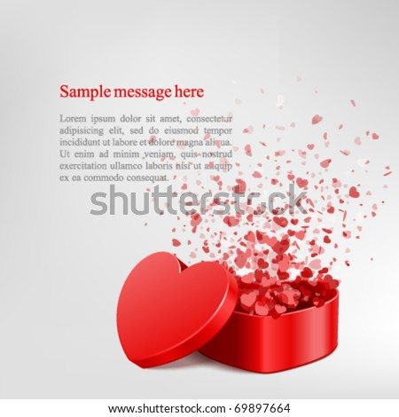 Vector background with open heart gift and fly hearts - stock vector