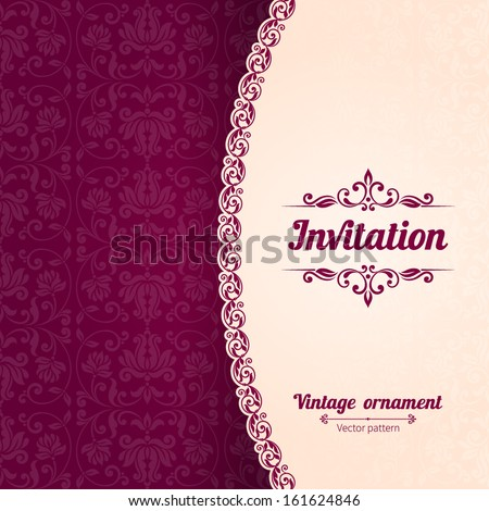 Vector background with ornamental floral elements. Vintage pattern for invitation or greeting card, - stock vector
