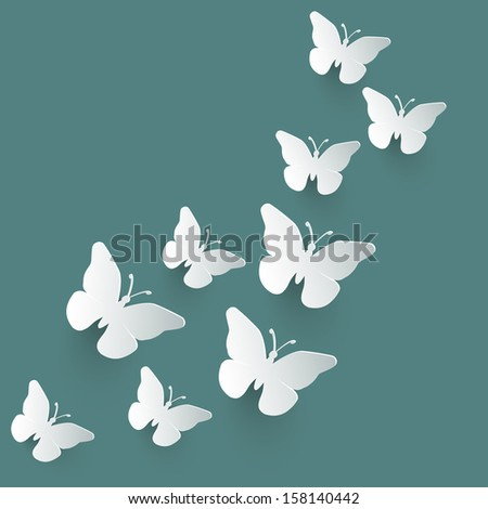 Vector background with paper butterflies. - stock vector