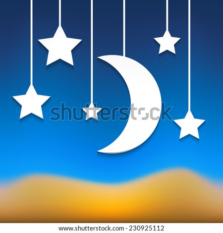 Vector background with paper stars and moon