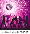 Vector background with people, disco-ball and glitters - stock vector
