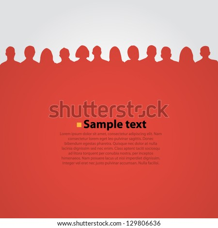 Vector background with people silouette. - stock vector