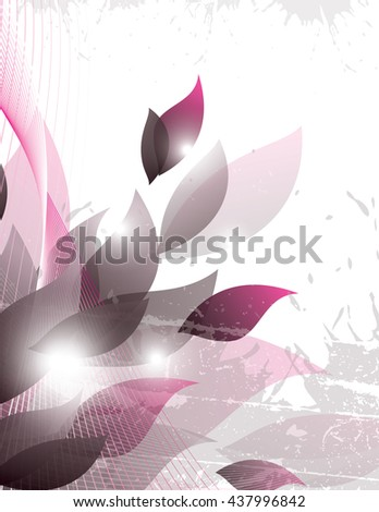 Vector Background with Pink Leaves. - stock vector