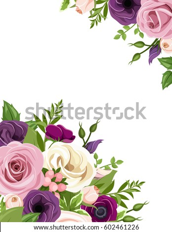 Vector horizontal seamless background lilac flowers stock vector vector background with pink purple white and orange roses lisianthus and anemone flowers mightylinksfo
