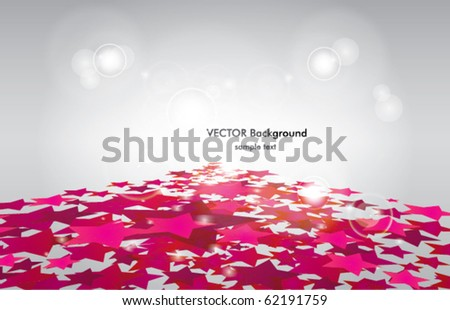 Vector Background with pink stars in perspective. Eps 10 - stock vector