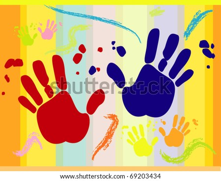 Vector background with printed hands for different uses - stock vector