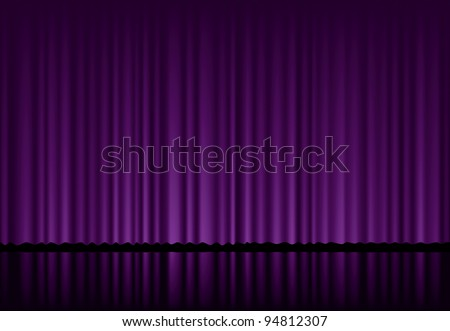 vector background with purple velvet curtain - stock vector