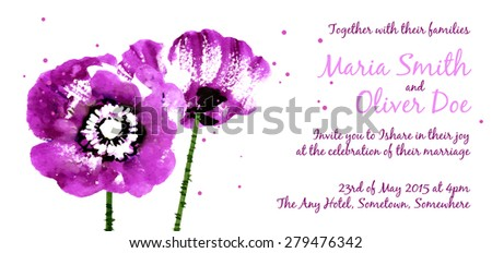 Vector background with purple watercolor poppies for wedding invitation or flyer - stock vector