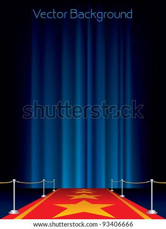 vector background with red carpet and stars - stock vector