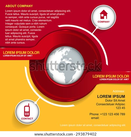 Vector background with red circle, globe, contact icons and place for introducing of company - stock vector