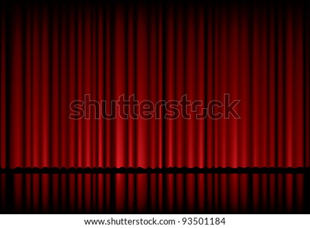 vector background with red velvet curtain - stock vector