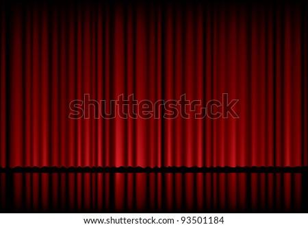 vector background with red velvet curtain - Velvet Curtain