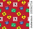 Vector background with  road signs, seamless pattern - stock photo