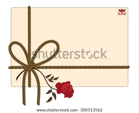 vector background with rope and red rose - stock vector