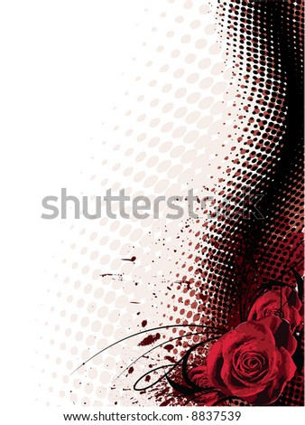 vector background with roses - stock vector