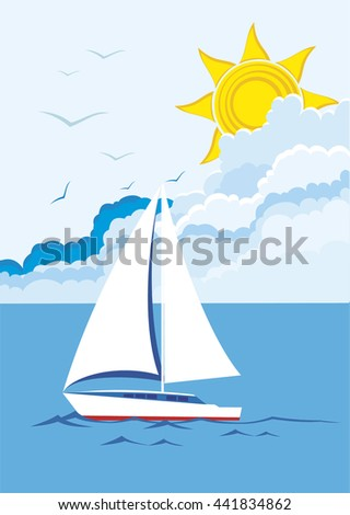vector background with sailboat floating on sea
