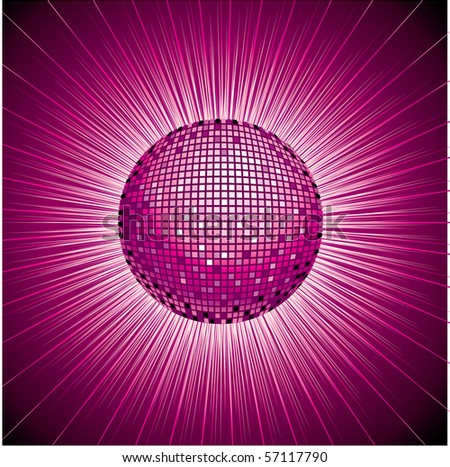 Vector background with shining disco-ball and pattern - stock vector