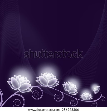 Vector Background with Shiny Flowers. - stock vector