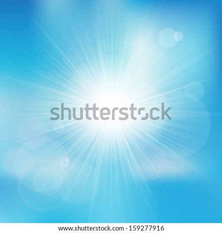 Vector background with shiny sun over a blue sky, with bokeh effect, lens flare and blurs  - stock vector